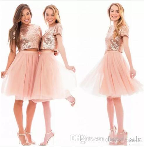 2017 Sparkly Blush Pink Rose Gold Sequins Homecoming Dresses Beach Cheap  Short Sleeves Bridesmaids Two Pieces Prom Party Dresses BA6048 Sexy Dresses  2015 ... e7c673bf8