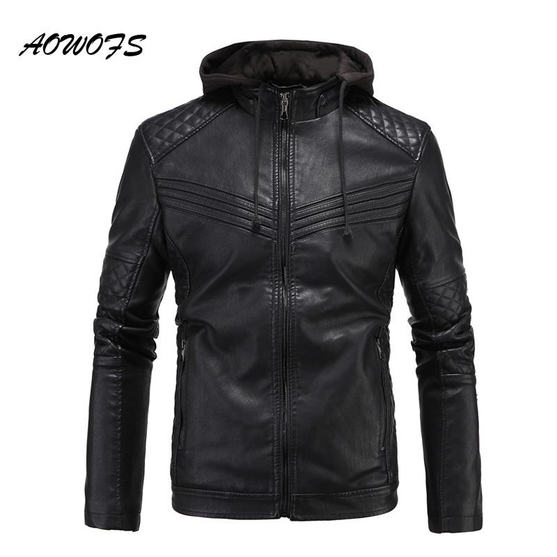 Aowofs 2017 Mens Leather Jackets With Hood Slim Fit Flocking ...