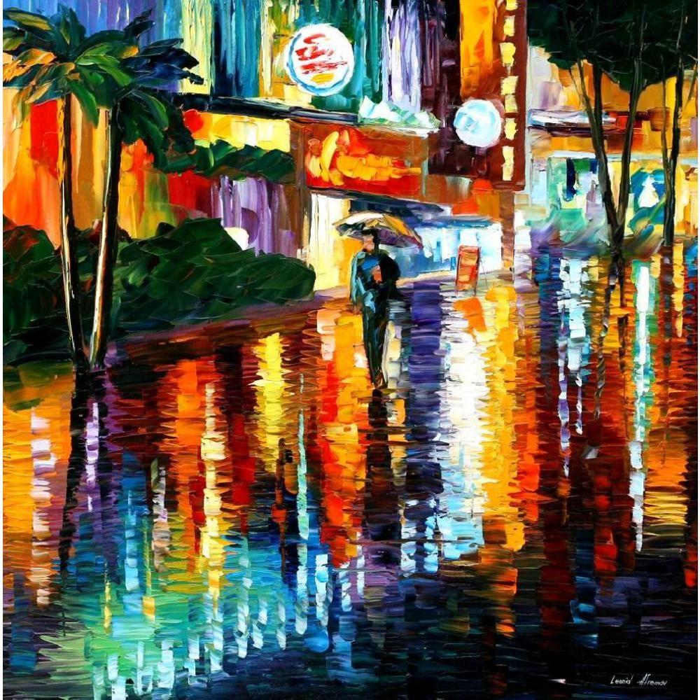 Hand Painted Oil Painting Modern Art Miami Night Leonid Afremov - Painting miami