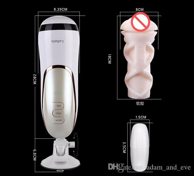 9 La masturbazione maschio di vibrazione di frequenza gioca la tazza ricaricabile del masturbatore del masturbatore interattivo di LuDaGe con il giocattolo sessuale del sesso dei gemiti
