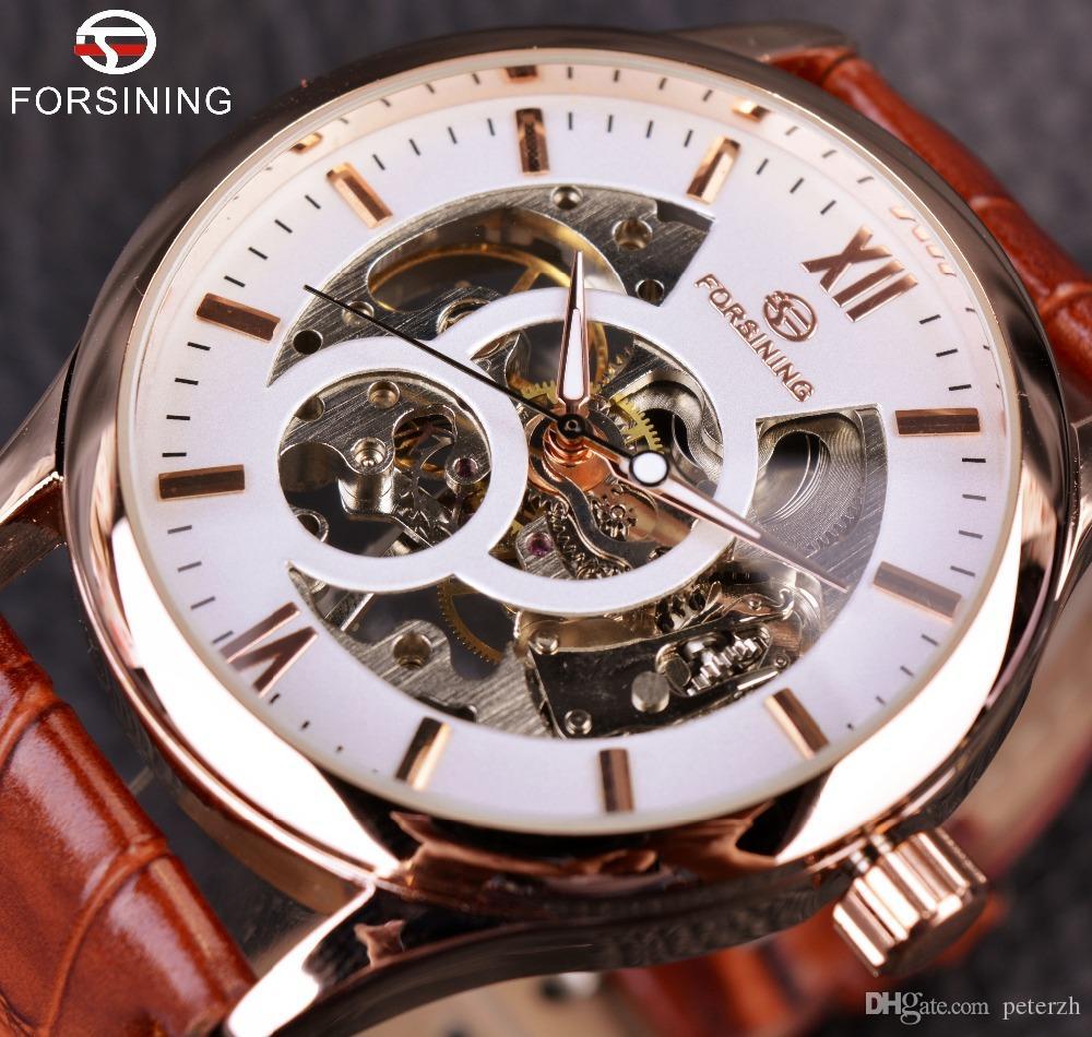5f1704d7a72 Compre Forsining Projeto Do Ouro Marrom Homens Relógio Top Marca De Luxo  Erkek Saat Esqueleto Relógio Mecânico Masculino Relógio Relogio Montre  Homme De ...