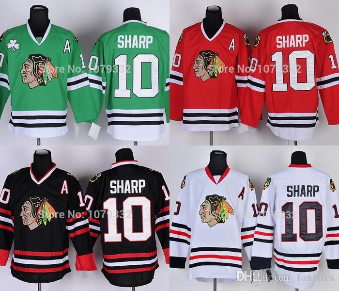on sale 641bf ed1e2 2016 Youth Chicago Blackhawks Patrick Sharp Hockey Jerseys #10 Patrick  Sharp Jersey Kids Red White Black Green Boys Jersey A Patch