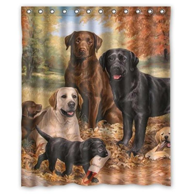 Exceptionnel Wholesale  Waterproof Lovely Labrador Retriever Dog Shower Curtain Tub  Curtain Bath Bathing Sheer For Home Decorations With Hooks 180X150cm Curtain  Beads ...
