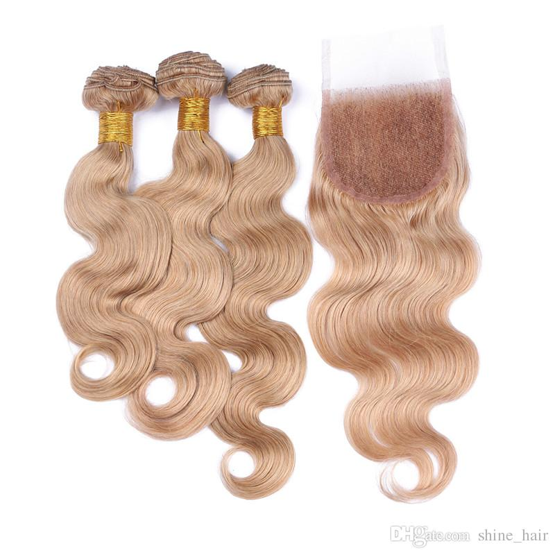 Honey Blonde Brazilian Human Hair 4x4 Lace Closure With 3 Bundles Body Wave #27 Strawberry Blonde Color Virgin Human Hair Wefts With Closure