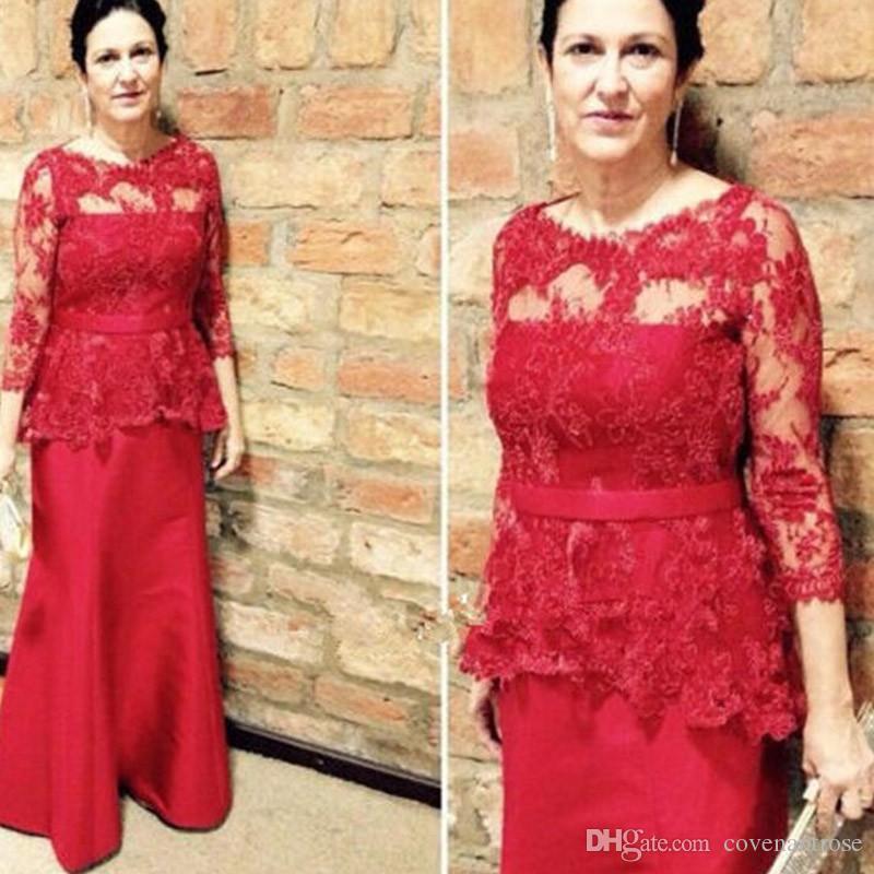 Abendgarderobe Bescheidene Guest Mutter Braut Kleid Kleider Des Lace Top Plus Rote Der Bräutigams Gowns Wedding Size XiTOPkuZ
