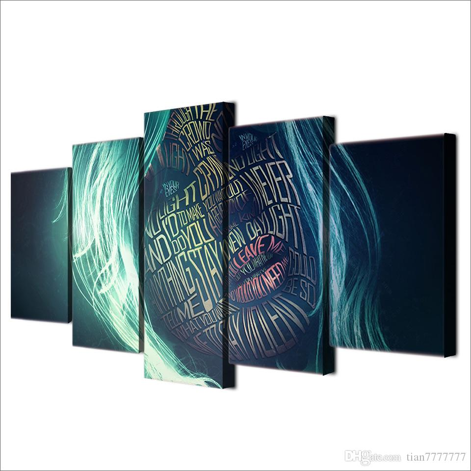 5 Panel No frame Abstract Art Girl Face Letter Canvas Painting Modern wall Art Print Poster Picture For Home decor