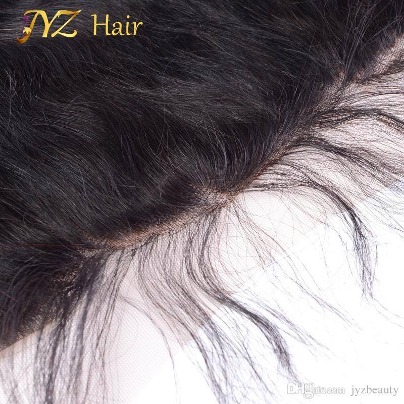 JYZ الرباط أمامي إغلاق بيرو شعر الجسم موجة 13x4 الأذن إلى الأذن الرباط أمامي اليد تعادل الإنسان الشعر Frontals ابيض عقدة