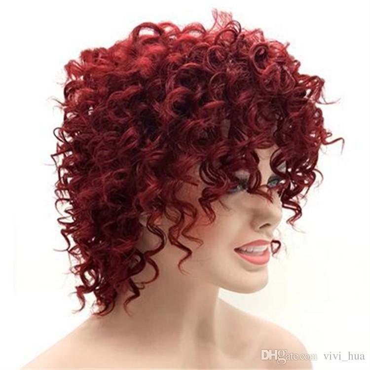 Même Coiffure De Rihanna Afro Crépus Bouclés Perruques Courtes Pour Les Femmes Noires Bourgogne 15 pouces Vin Rouge Cheveux Synthétiques Pelucas Perruque Afro Perucas