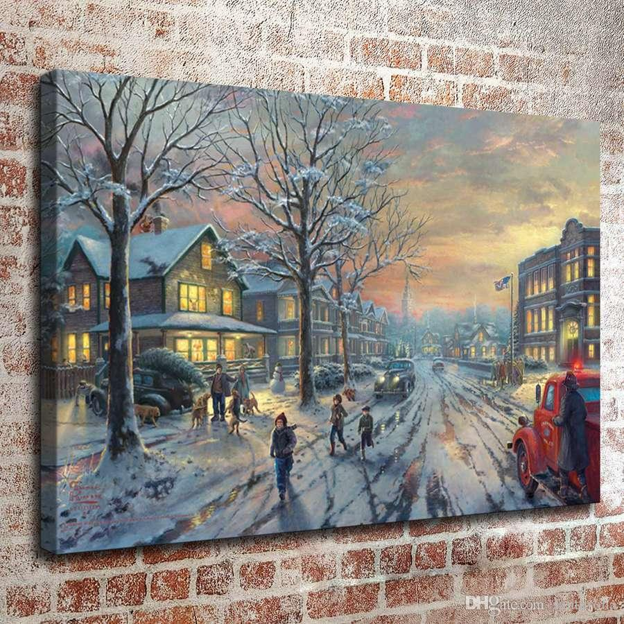 thomas kinkade oil painting christmas series hd canvas print wall art pictures home decor living room decoration thomas kinkade christmas paintings online