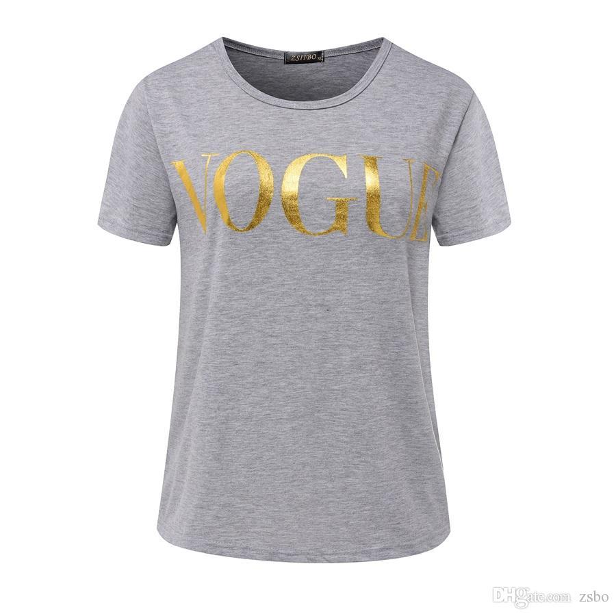 Модные футболки женские футболки золото VOGUE письмо женщин с коротким рукавом Экипаж шеи графических тройников Casual Для женщин вершины 2017 года Новый NV08 РФ