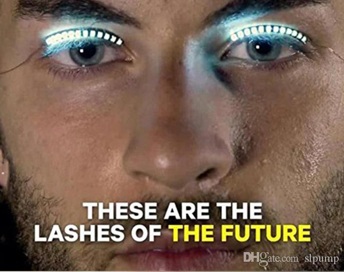 Interaktive Halloween LED Streifen falsche Wimpern Aufkleber 3D LED Wimpern Augen Make-up wasserdichte Licht gefälschte Wimpern Weihnachten Nachtclub Party