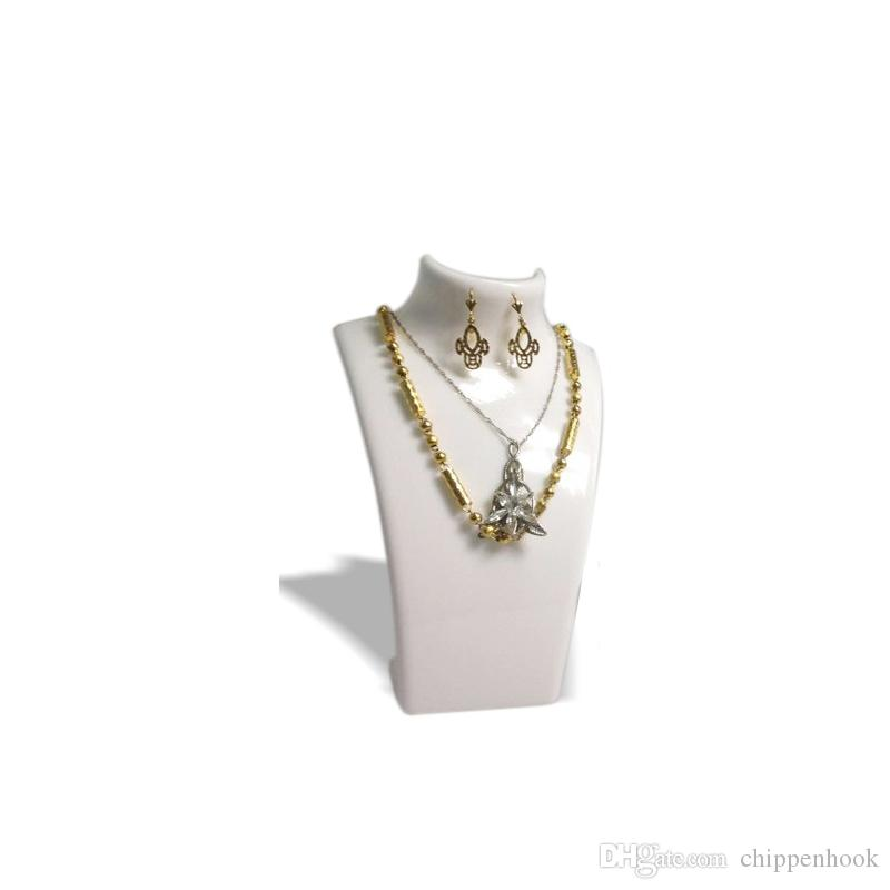 3 x Fashion Jewelry Display Busto Collana di gioielli in acrilico Scatola di immagazzinaggio Orecchino Pendant Organizer Display Set Stand Holder Mannequin