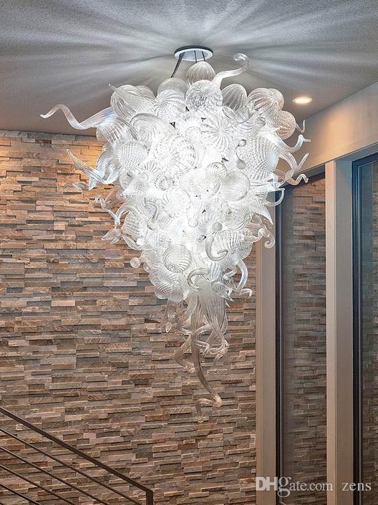 퓨어 화이트 투명 유리 샹들리에 현대 예술 디자인 천장 램프 스타일 무라노 유리 LED 샹들리에