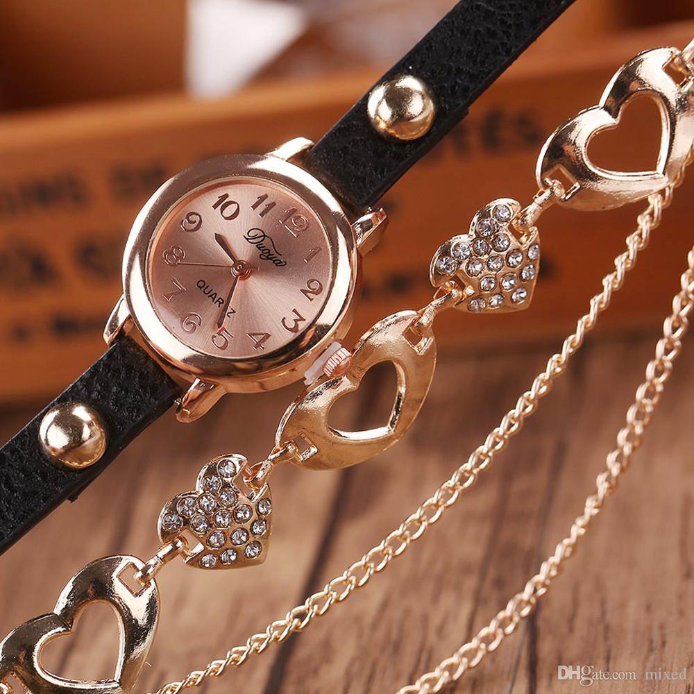 5 Цветов Дуои Новый Бренд Роскошные Любовные Платье Часы Женщины Браслет Часы Женский PU Кожаные Кварцевые Наручные часы Relogio Feminino