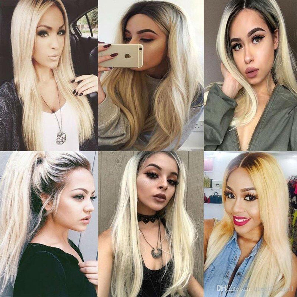 1B / 613 Body Wave Blonde Ombre El cabello humano teje 4 paquetes con el medio libre de cierre 3 partes de doble trama Extensiones de cabello humano Dyeable