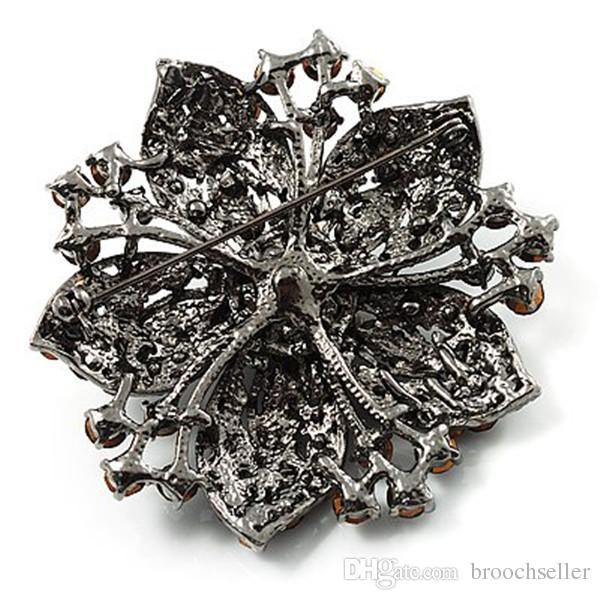 Spilla a forma di stella di pesce in argento placcato rodio nero con diamanti da 2 pollici