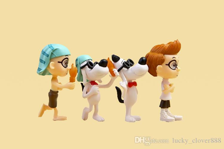 of Mr. Peabody & Sherman Movie PVC Mini Action Figure set cartoon Doll figurines playset Toy Cup Cake Topper desktop kids gift