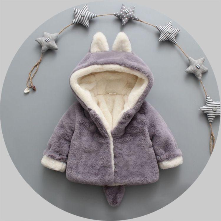 Çocuk Faux Kürk Kış Kış Bebek Kız Sevimli Kulak Kapüşonlu Mont Çocuklar Polar Kalınlaşmak Dış Giyim Çocuk Karikatür Dış Giyim A0158