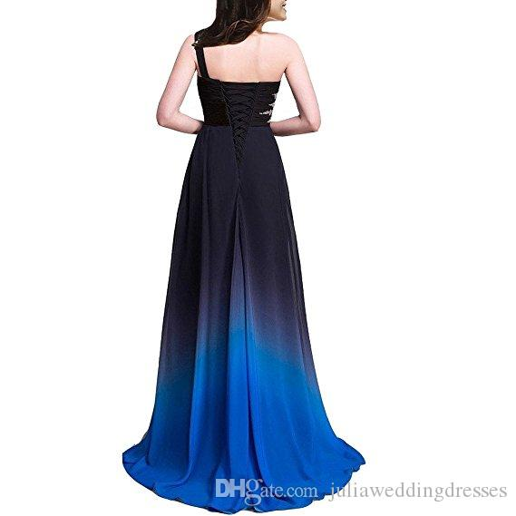 2017 New Gradient Long A Line Chiffon Prom Evening Dresses Women Formal Gowns Floor-Length Party Gown QC441
