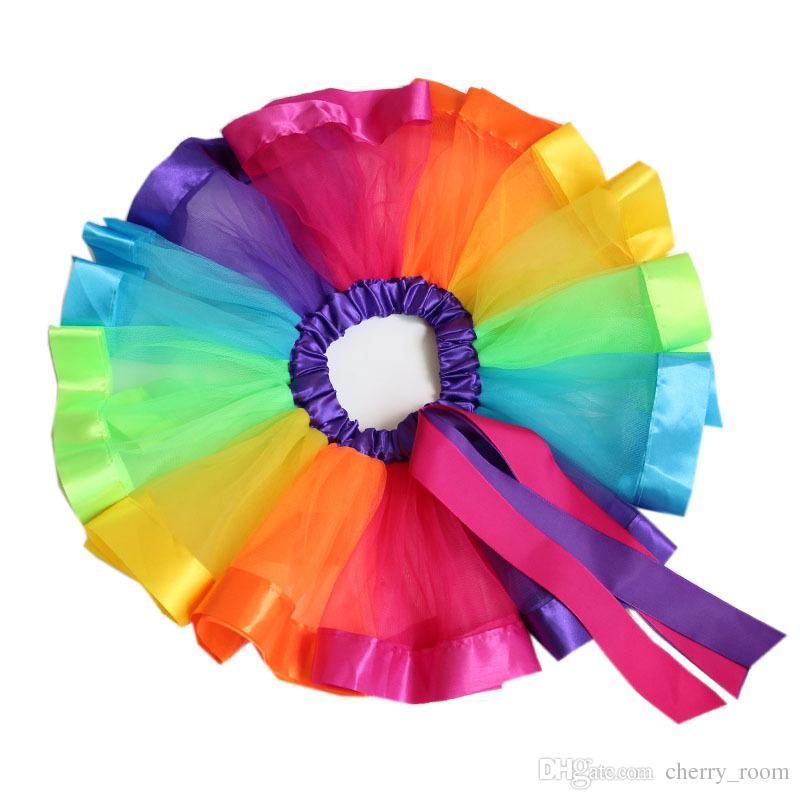 무지개 컬러 소녀 투투 스커트 새로운 리본 Bowknot 어린이 공주 댄스 스커트 공연 축제 파티 키즈 Pettiskirt C1573