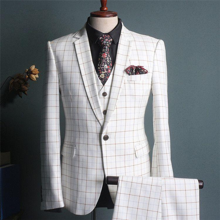 2018 2018 New White Color Pant Coat Design Men Wedding Suits ...