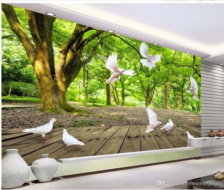3d Beautiful Summer Forest Play White Pigeon Tv Background Wall Mural 3d Wallpaper 3d Wall Papers For Tv Backdrop