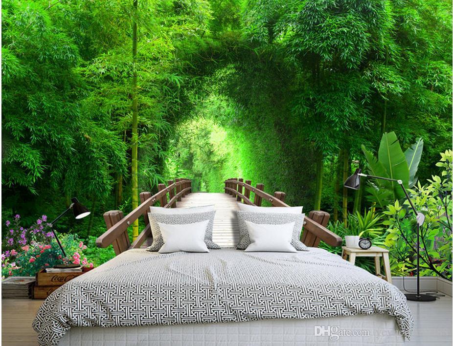 Custom 3d nonwoven wallpaper bamboo forest arch 3d tv wall - Nature ka wallpaper ...