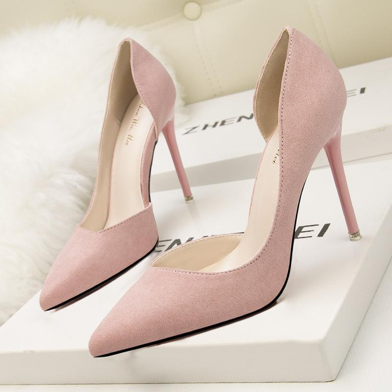 2017 Korean fashion simple and exquisite with Pointed high heel suede light mouth sexy women shoes
