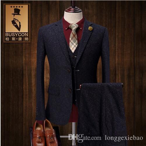 2018 vintage thick christmas tweed suit men slim fit grey. Black Bedroom Furniture Sets. Home Design Ideas
