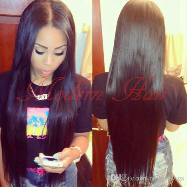 "Cheap Beautiful synthetic Full Lace Wig/Front Lace wigs 16""-26""Silky Straight Black Heat Resistant Synthetic Hair For Black Women In Stock"