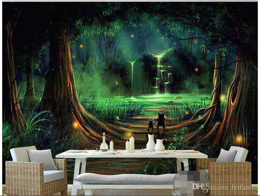 3d Wallpaper Custom Photo Non Woven Mural Forest Waterfall Water Animals Decoration Painting Bedroom For Walls Computer Desktop