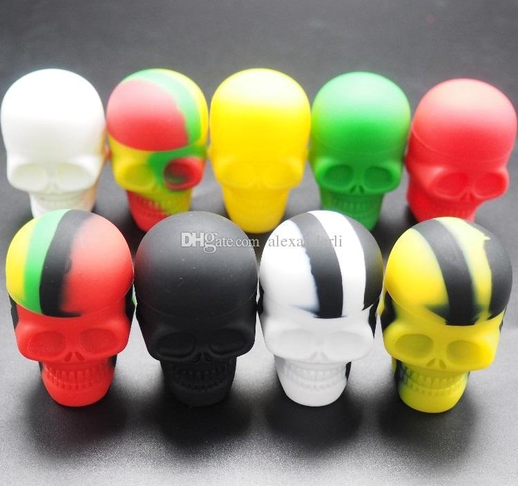 Nouvelle forme de crâne Petite bocal de silicone DAB Caseur de cire 15 ml Conteneur de silicone antiadhésif de grade de silicone de qualité alimentaire Silicone personnalisé outil de rangement