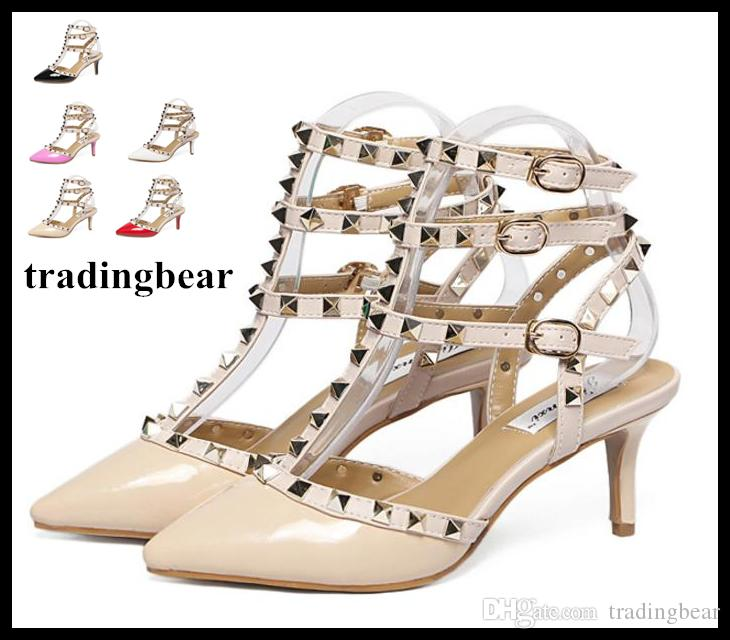 1cba32cdd84d Ladies Sexy Beige Rivets Gladiator Sandal T Strappy Pointed Toe High Heels  Stiletto Heels Sandals Cheap Trainers Blue Shoes From Tradingbear