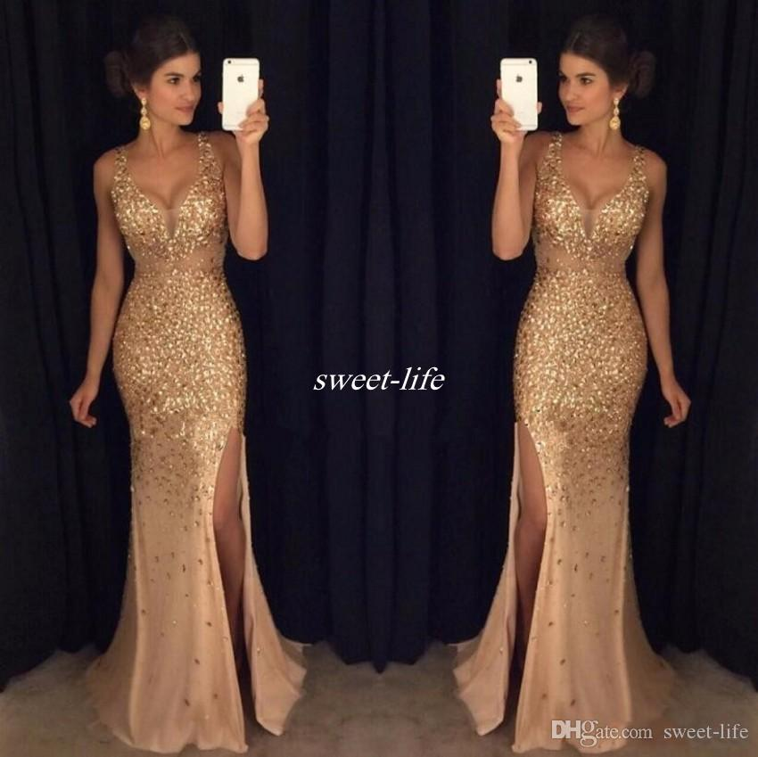 2017 Gold Shinny Evening Dresses Sexy V Neck Cap Sleeves Beaded Sequins Side Slit Prom Dresses Formal Party Gowns Tulle Floor Length Sheer