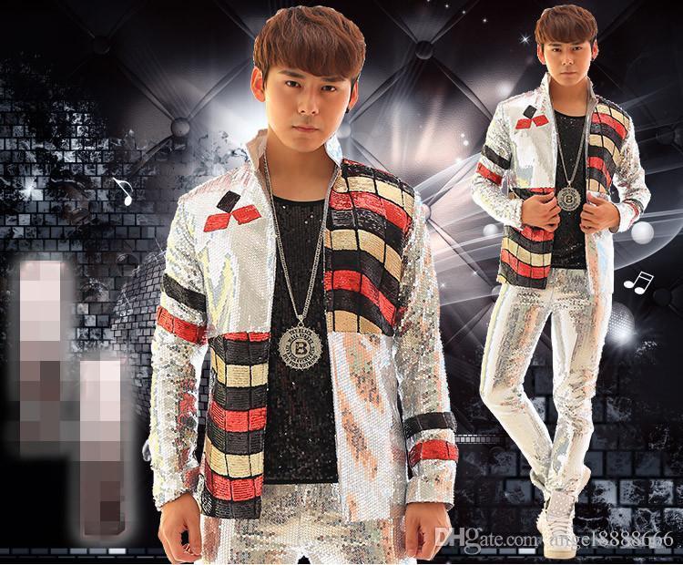 2017 chaqueta de plata masculina del traje de los hombres prendas de vestir exteriores de la discoteca de la fiesta de Navidad trajes de la etapa de Navidad para los cantantes de moda desgaste delgado