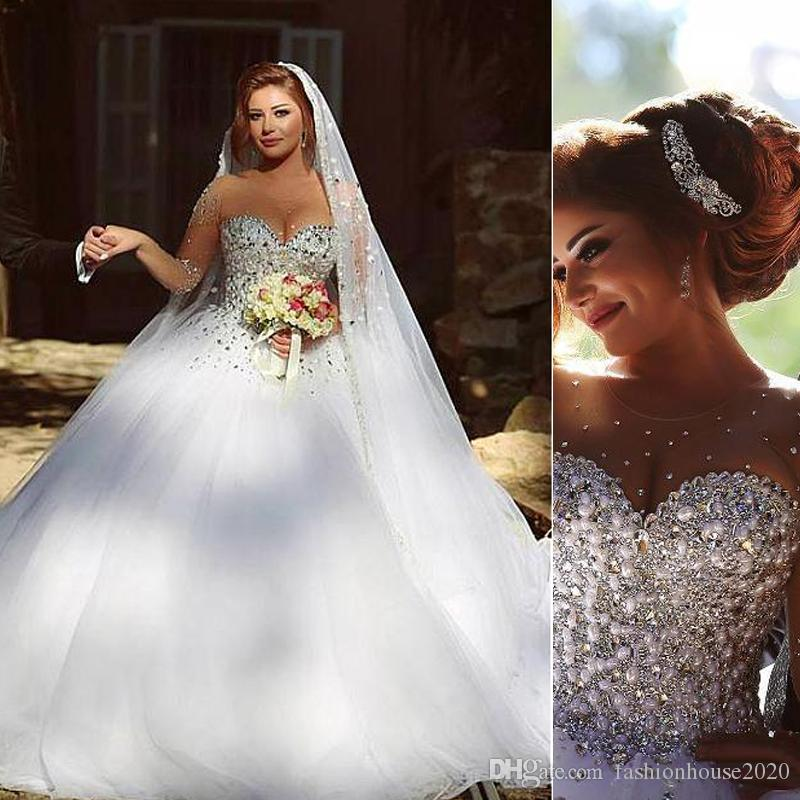 Discount Luxury Pearl Crystal Wedding Dresses 2018 Sheer Illusion ...