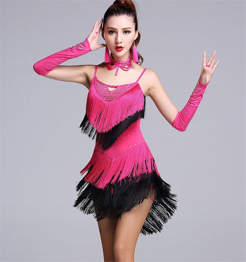 2017 New Latin dance dress women sexy suspenders diamond tassel Rumba Tango Sasa Samba ballroom costumes competition clothing