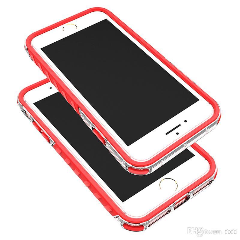 Vente chaude Clear Frame Case Soft TPU Dur PC 2in1 Antichoc Case Pour iphone 7 7 plus
