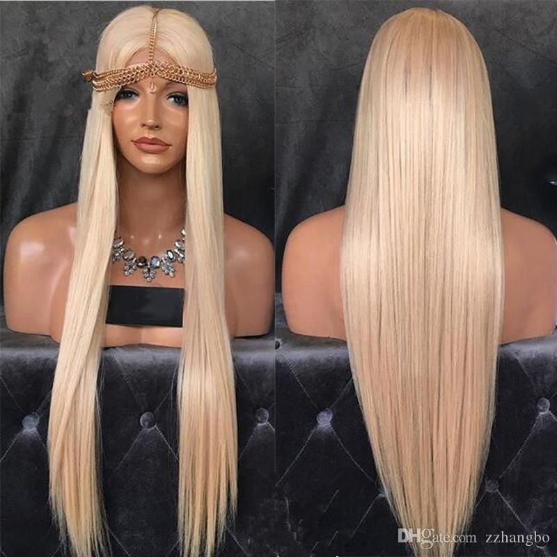 Full Lace Wig Cheap Weaving Wig Blond Hair Gluless # 613 Virgin Brazilian Hair Straight Blond Hair In Front Of Black Pearl Human White Women