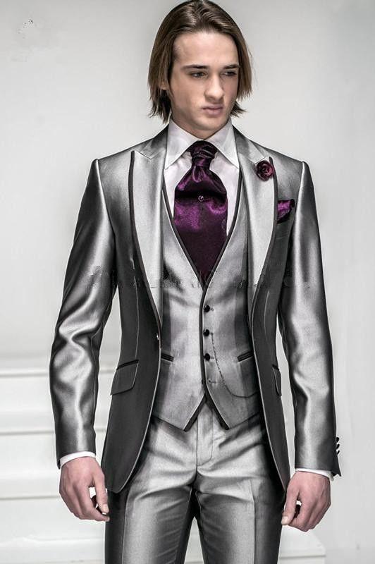 Customized Silver Grey Italian Suits Jacket+Pants+Vest wedding ...