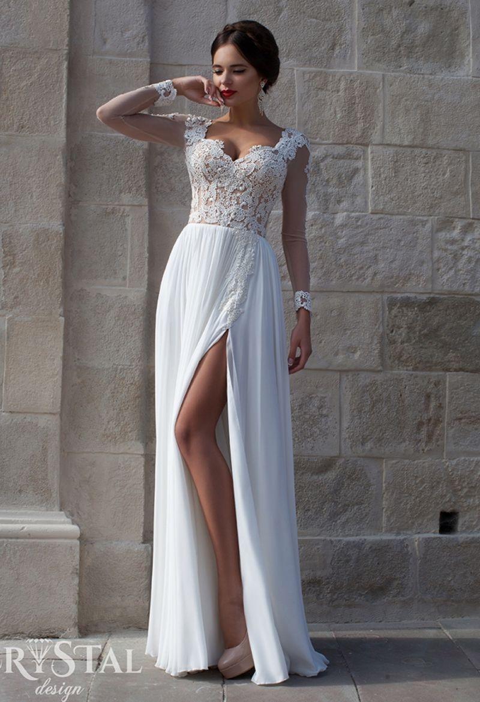 dd8e82a74ec Сексуальный разрез с длинным рукавом белые кружевные вечерние платья 2017  криста