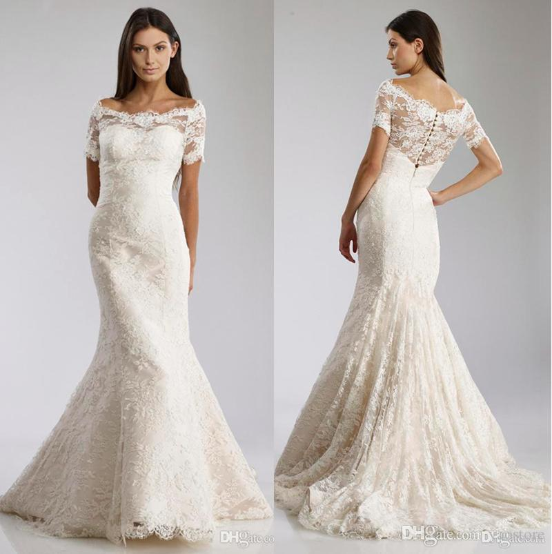Lace Fit And Flare Wedding Gown: 2016 Fit To Flare Gown Lace Wedding Dresses Vintage Off