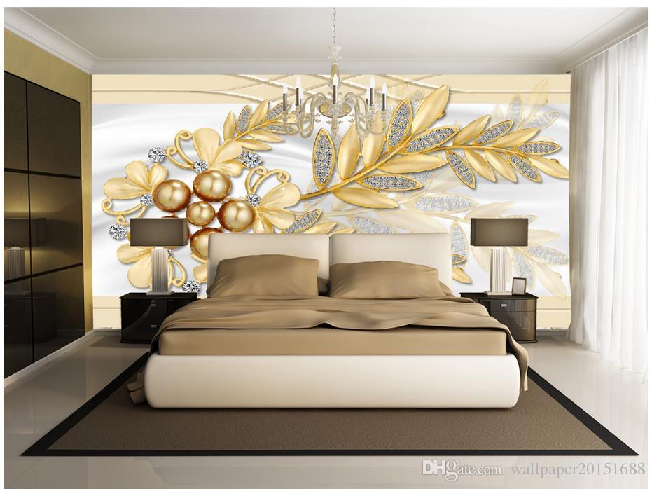 Elegante weiche Taschen Schmuck Blumen Blätter TV Walls Wandbild 3D wallpaper 3D Tapeten für TV Hintergrund