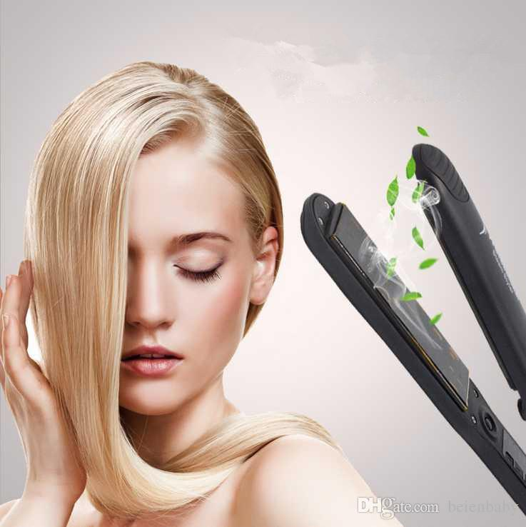 Steam Function Flat Iron Tourmaline Ceramic Vapor Professional Hair Straightener with Argan Oil Infusion Straightening Irons Free Ship
