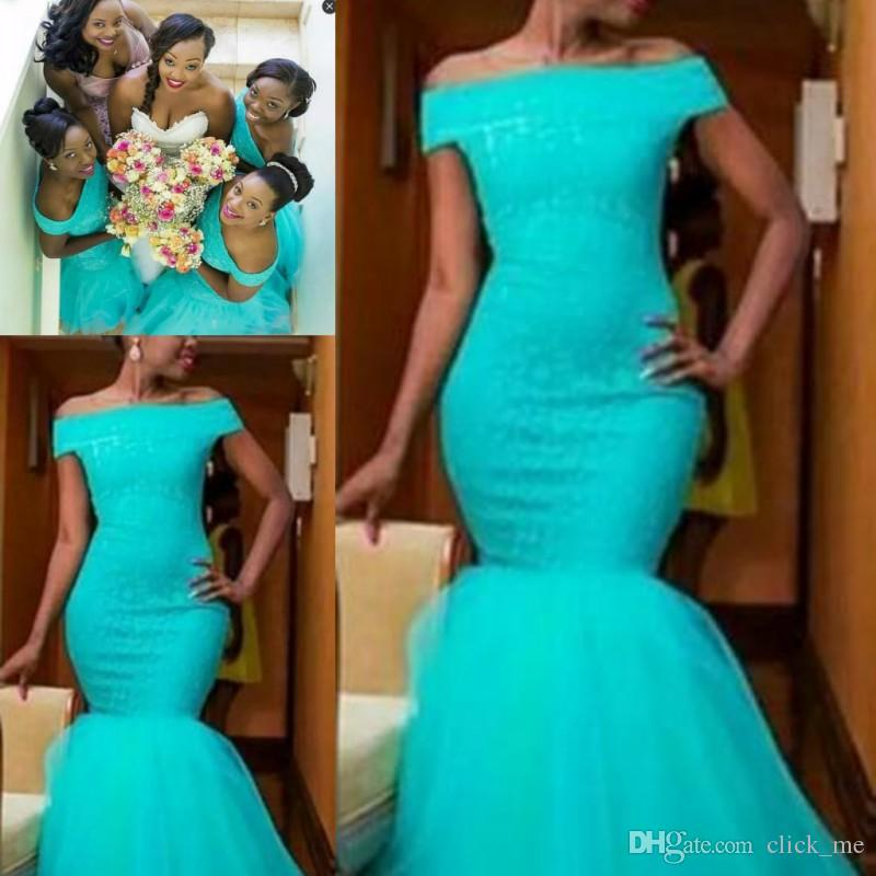 South Africa Style nigerianischen Brautjungfernkleider Plus Size Mermaid Trauzeugin Kleider für Hochzeit Off Shoulder Türkis Cocktail-Party-Kleid