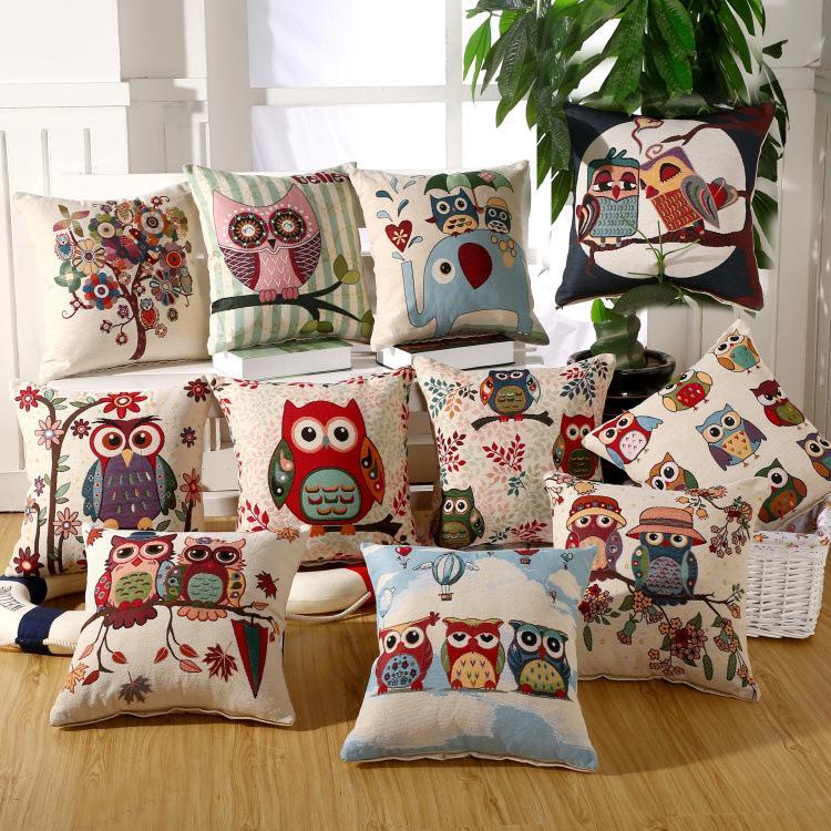 Coruja dos desenhos animados Estilo Travesseiro Capa de Aves Colorido Folha de Fronha 45X45 CM Quadrado Fronhas Bonito Animal Impressão Capa de Almofada Crianças Presente wn210