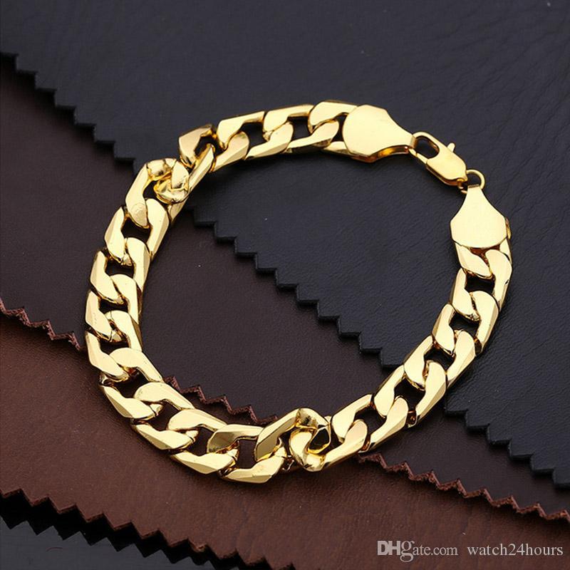 24K Ywllow золото чистая медь браслет мужчины/женщины ювелирные изделия Оптовая модные серебро/золото цвет 20 см 6 мм 10 мм толщиной кубинский ссылка цепи браслеты