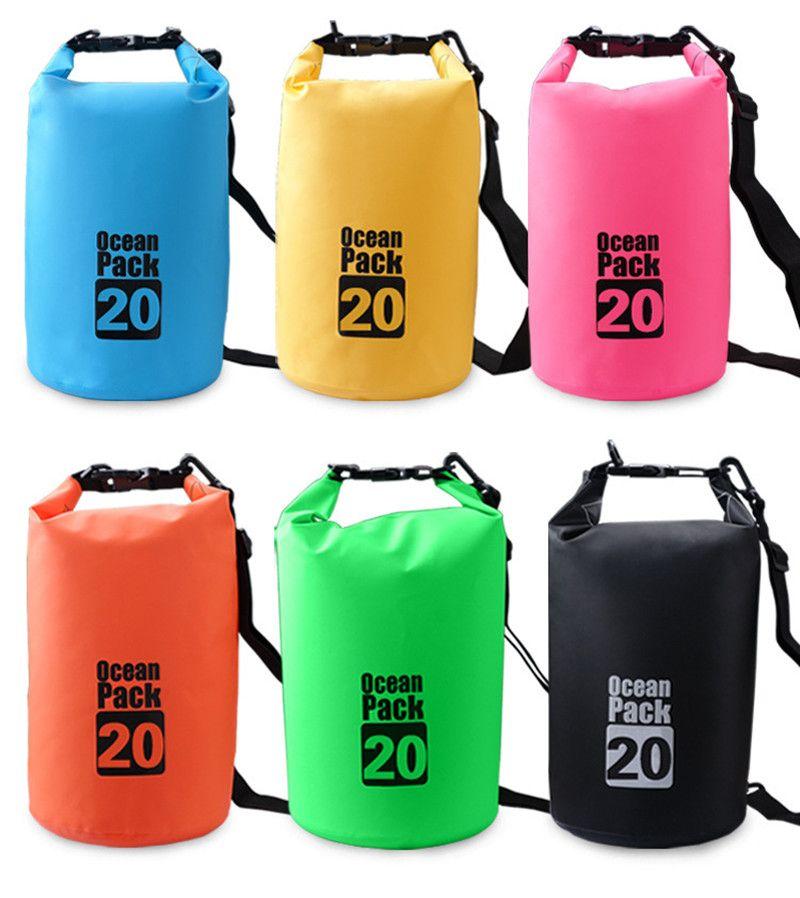 89ed1dcf8f 2019 20L Floating Dry Gear Bags Drifting Bag Waterproof Dry Bag Backpack  Canoe Kayak Rafting Floating Storage Bags Folding Boating Travel Kits From  ...