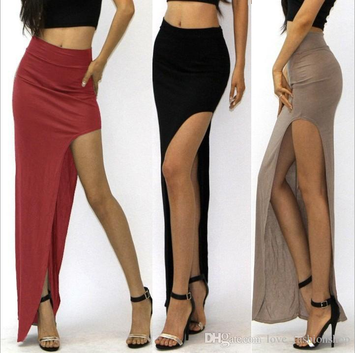 346ef189f Mezclar 7 Colores Mujeres Sexy Split Faldas Largas Dama Open Side cintura  alta Paquete cadera Larga Maxi Falda Ropa de Mujer Ropa