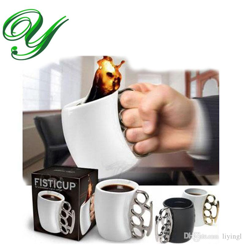 fisticup ceramic mug knuckleduster fist coffee cup with finger